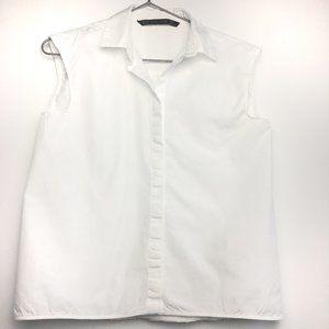 Zara White Sleeveless Button Down Shirt XS